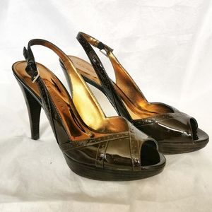 Marc Fisher Vendra brown patent leather heels